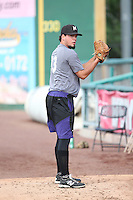 Helmis Rodriguez (33) of the Modesto Nuts pitches in the bullpen before a game against the Inland Empire 66ers at San Manuel Stadium on May 20, 2016 in San Bernardino, California. Inland Empire defeated Modesto, 4-2. (Larry Goren/Four Seam Images)