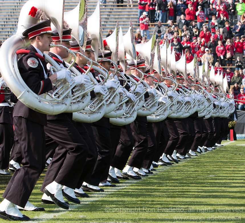 The Ohio State Band. The Ohio State Buckeyes defeated the Purdue Boilermakers 56-0 at Ross-Ade Stadium, West Lafayette, Indiana on November2, 2013.