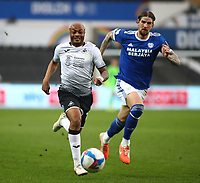 20th March 2021; Liberty Stadium, Swansea, Glamorgan, Wales; English Football League Championship Football, Swansea City versus Cardiff City; Andre Ayew of Swansea City sprints after the long through ball