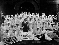 Group of Polish nurses who were recruited through the efforts of the president of the Polish White  Cross, Mme.  Helena Paderewski.  These 37 nurses will be the first unit of Polish nurses to go overseas.  June 1918. Underwood & Underwood. (War Dept.)<br />Exact Date Shot Unknown<br />NARA FILE #:  165-WW-578B-2<br />WAR & CONFLICT BOOK #:  662