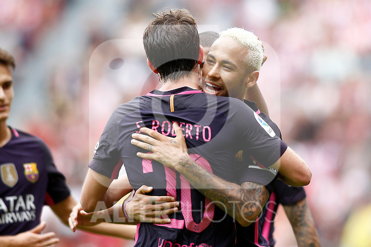 FC Barcelona's Neymar Santos Jr (r) and Sergi Roberto celebrate goal during La Liga match. September 24,2016. (ALTERPHOTOS/Acero)