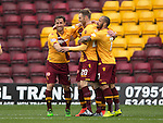 Motherwell v St Johnstone….07.05.16  Fir Park, Motherwell<br />Scott McDonald celebrates his goal<br />Picture by Graeme Hart.<br />Copyright Perthshire Picture Agency<br />Tel: 01738 623350  Mobile: 07990 594431