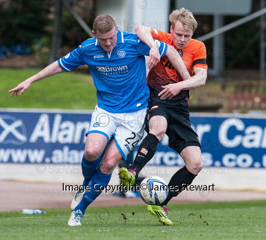 St Johnstone's Brian Easton and Dundee Utd's Gary Mackay-Steven challenge for the ball.
