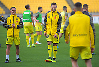 Phoenix's Cameron Devlin and Gary Hooper warm up for the A-League football match between Wellington Phoenix and Brisbane Roar at Westpac Stadium in Wellington, New Zealand on Saturday, 23 November 2019. Photo: Dave Lintott / lintottphoto.co.nz