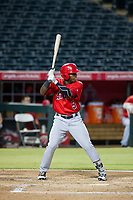 AZL Angels left fielder Johan Sala (5) bats during a game against the AZL Indians on August 7, 2017 at Tempe Diablo Stadium in Tempe, Arizona. AZL Indians defeated the AZL Angels 5-3. (Zachary Lucy/Four Seam Images)