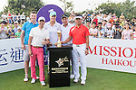 (L-R) Lee Sharpe, Xing Aowei, Anna Nordqvist, Tenniel Chu, Man Wenjun at the 1st hole during the World Celebrity Pro-Am 2016 Mission Hills China Golf Tournament on 23 October 2016, in Haikou, China. Photo by Weixiang Lim / Power Sport Images