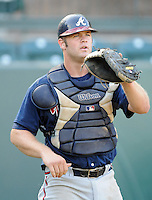 Catcher Evan Gattis (19) of the Danville Braves in a game against the Pulaski Mariners on July 19, 2010, at Calfee Park in Pulaski, Va. Photo by: Tom Priddy/Four Seam Images