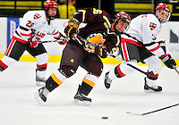 2 January 2009: Ferris State Bulldogs' left wing forward Mike Embach, a Sophomore from Orland Park, IL, in action against the St. Lawrence Saints during the first game of the 2009 Catamount Cup Ice Hockey Tournament hosted by the University of Vermont at Gutterson Fieldhouse in Burlington, Vermont. The Saints defeated the Bulldogs 5-4 to move onto the championship game against the University of Vermont Catamounts...Mandatory Photo Credit: Ed Wolfstein Photo