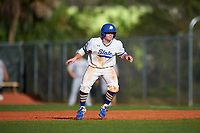 South Dakota State Jackrabbits second baseman Braeden Brown (32) leads off during a game against the Northeastern Huskies on February 23, 2019 at North Charlotte Regional Park in Port Charlotte, Florida.  Northeastern defeated South Dakota State 12-9.  (Mike Janes/Four Seam Images)