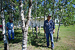 Bernard Ominayak, 30-year chief of the Lubicon nation, on right, and Reinie Jobin, stand in front of the Lubicon office at Little Buffalo which is 70kms east of Peace River, Alberta on July 15, 2010. Residents in the area have been complaining of strong odours in the air which they say are affecting the health of their animals and family members..Jimmy Jeong / www.jimmyshoots.com