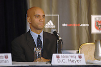 District of Columbia Mayor Adrian Fenty at the presentation of DC United Holdings as the new group that owns and controls the operating rights for DC United of Major League Soccer, January 8, 2007.