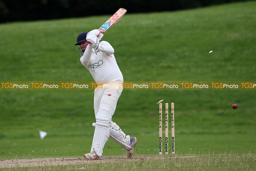 Chris Cook of Ardleigh Green is bowled out during Ardleigh Green & Havering-Atte-Bower CC (batting) vs Newham CC, Hamro Foundation Essex League Cricket at Central Park on 10th July 2021