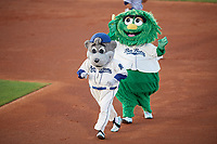 Mobile BayBears mascots Baby Bear and Kookie during a Southern League game against the Jacksonville Jumbo Shrimp on May 7, 2019 at Hank Aaron Stadium in Mobile, Alabama.  Mobile defeated Jacksonville 2-0.  (Mike Janes/Four Seam Images)