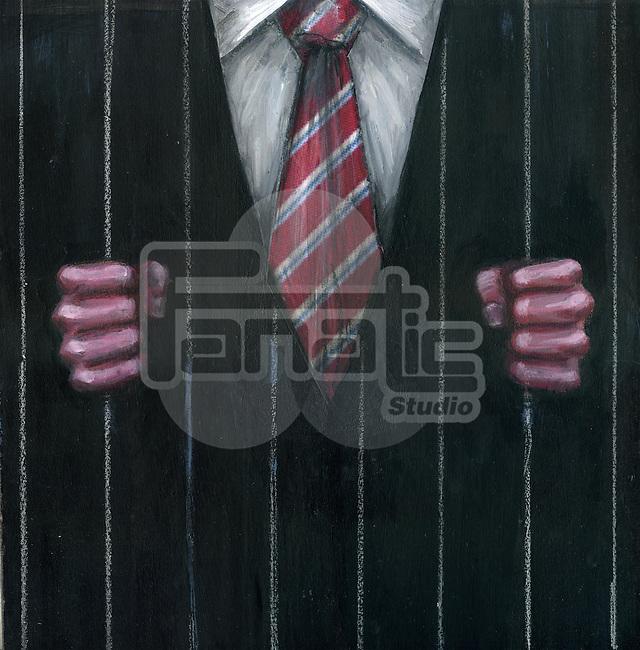 Illustration of businessman in a prison