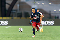FOXBOROUGH, MA - AUGUST 21: Damian Rivera #72 of New England Revolution II dribbles during a game between Richmond Kickers and New England Revolution II at Gillette Stadium on August 21, 2020 in Foxborough, Massachusetts.