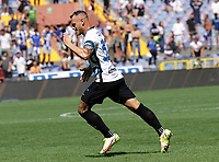 12th September 2021; G.Ferraris Stadium, Genoa, Italy; Serie A football, Sampdoria versus Inter Milan; Federico Dimarco of Inter celebrates after scoring his goal for 1-0 in the 18th minute