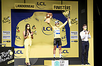 World Champion Julian Alaphilippe (FRA/Deceuninck - QuickStep) wiining his first race back after becoming a first time dad only 2 weeks earlier and grabbing the yellow jersey in the process<br /> <br /> Stage 1 from Brest to Landerneau (198km)<br /> 108th Tour de France 2021 (2.UWT)<br /> <br /> ©kramon