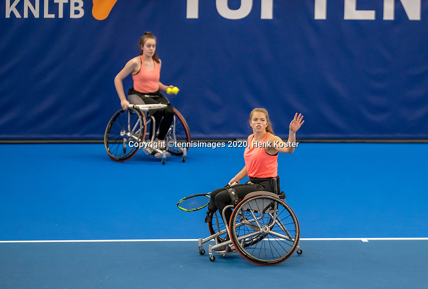 Amstelveen, Netherlands, 12  December, 2020, National Tennis Center, NTC, NKR, National   Indoor Wheelchair Tennis Championships, Junior doubles final Final :   <br /> Photo: Henk Koster/tennisimages.com