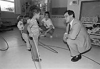 Le depute liberal Jacques Chagnon visite la garderie de l'UQAM, le 15 juillet 1987<br /> <br /> Photo:  Agence Quebec Presse