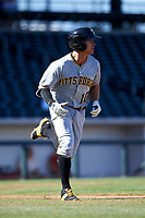Glendale Desert Dogs shortstop Kevin Kramer (10), of the Pittsburgh Pirates organization, hustles down the first base line during an Arizona Fall League game against the Mesa Solar Sox on October 28, 2017 at Sloan Park in Mesa, Arizona. The Solar Sox defeated the Desert Dogs 9-6. (Zachary Lucy/Four Seam Images)