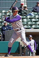 David Herbek of James Madison University hitting in a game against UC Irvine at the Baseball at the Beach Tournament held at BB&T Coastal Field in Myrtle Beach, SC on February 28, 2010.