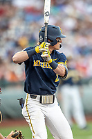Michigan Wolverines shortstop Jack Blomgren (2) at bat during Game 6 of the NCAA College World Series against the Florida State Seminoles on June 17, 2019 at TD Ameritrade Park in Omaha, Nebraska. Michigan defeated Florida State 2-0. (Andrew Woolley/Four Seam Images)