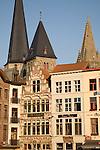 Restaurants on Vrijdag Markt - Market Square, Ghent, Belgium, Europe