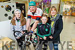 The Horgan family from Castleisland, Rachel, Emma and Diane Horgan supporting Tommy Sheehy  on Saturday morning in Manor West Shopping Centre, as Tommy is doing a spinathon to achieve the €100,000 mark in fundraising for Enable Ireland Kerry and he is €1,600 of of the target.