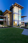 Nighttime image of a contemporary house in the Pacific Northwest