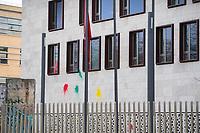Farbbeutel-Attacke auf tuerkische Botschaft in Berlin.<br /> Unbekannte warfen in der Nacht zu Dienstag den 27. Februar 2018 aus Protest gegen den militaerischen Einmarsch der Tuerkei in die syrisch-kurdische Region Afrin mehrere Farbbeutel an die Fassade der tuerkischen Botschaft in Berlin. Die tuerkische Regierung behauptet mit dem Einmarsch angebliche Terroristen zu bekaempfen.<br /> 19.1.2018, Berlin<br /> Copyright: Christian-Ditsch.de<br /> [Inhaltsveraendernde Manipulation des Fotos nur nach ausdruecklicher Genehmigung des Fotografen. Vereinbarungen ueber Abtretung von Persoenlichkeitsrechten/Model Release der abgebildeten Person/Personen liegen nicht vor. NO MODEL RELEASE! Nur fuer Redaktionelle Zwecke. Don't publish without copyright Christian-Ditsch.de, Veroeffentlichung nur mit Fotografennennung, sowie gegen Honorar, MwSt. und Beleg. Konto: I N G - D i B a, IBAN DE58500105175400192269, BIC INGDDEFFXXX, Kontakt: post@christian-ditsch.de<br /> Bei der Bearbeitung der Dateiinformationen darf die Urheberkennzeichnung in den EXIF- und  IPTC-Daten nicht entfernt werden, diese sind in digitalen Medien nach §95c UrhG rechtlich geschuetzt. Der Urhebervermerk wird gemaess §13 UrhG verlangt.]