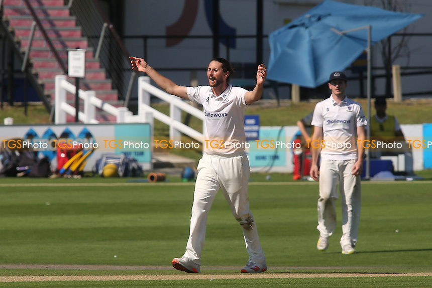 Sussex bowler, Fynn Hudson-Prentice appeals for a caught behind to no avail during Sussex CCC vs Middlesex CCC, LV Insurance County Championship Division 3 Cricket at The 1st Central County Ground on 7th September 2021