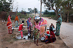 Women collect water from a deep tube-well in Bango. The uranium waste dumped in the tailing ponds allegedly contaminates groundwater. But the villagers drink and cook food with the groundwater from wells and deep tube-wells.