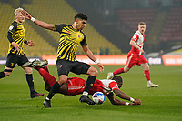Uche Ikpeazu of Wycombe Wanderers has his penalty claim turned down during the Sky Bet Championship behind closed doors match between Watford and Wycombe Wanderers at Vicarage Road, Watford, England on 3 March 2021. Photo by David Horn.