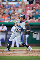 West Michigan Whitecaps second baseman Kody Clemens (21) swings at a pitch during a game against the Kane County Cougars on July 19, 2018 at Northwestern Medicine Field in Geneva, Illinois.  Kane County defeated West Michigan 8-5.  (Mike Janes/Four Seam Images)