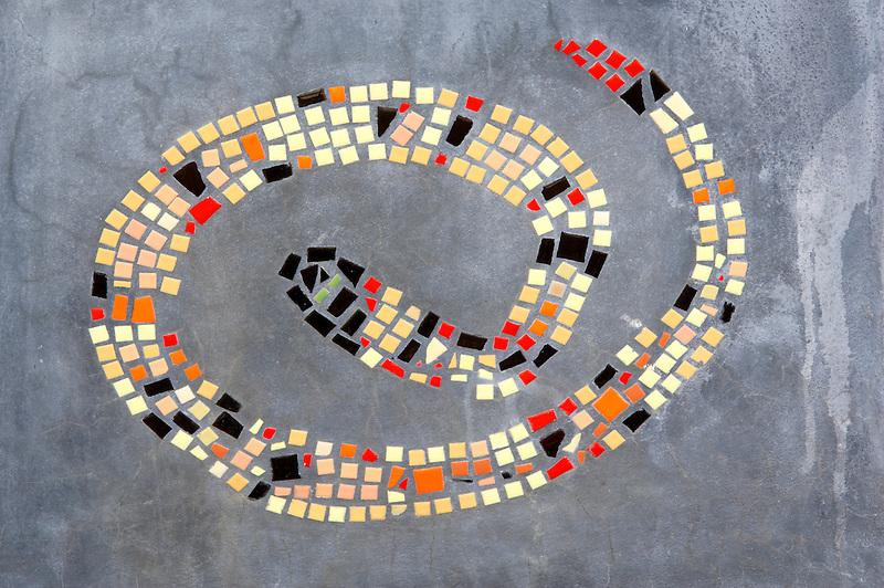 Mosaic snake design on bench in Tubac. Arizona
