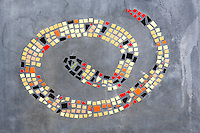 Mosaic snake design on bench in Tubac. Arizona