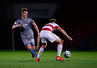 Lincoln City's Callum Connolly vies for possession with Doncaster Rovers' Ben Whiteman<br /> <br /> Photographer Andrew Vaughan/CameraSport<br /> <br /> EFL Leasing.com Trophy - Northern Section - Group H - Doncaster Rovers v Lincoln City - Tuesday 3rd September 2019 - Keepmoat Stadium - Doncaster<br />  <br /> World Copyright © 2018 CameraSport. All rights reserved. 43 Linden Ave. Countesthorpe. Leicester. England. LE8 5PG - Tel: +44 (0) 116 277 4147 - admin@camerasport.com - www.camerasport.com