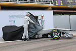 Mercedes GP's Michael Schumacher and Nico Rosberg unveil their car during Formula One official tests. February 01, 2011. (Vicente Llopis/Alfaqui)