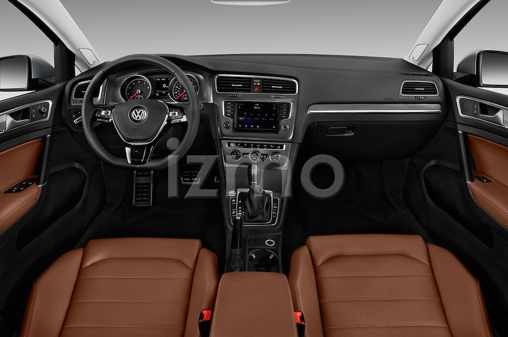 Stock photo of straight dashboard view of 2017 Volkswagen Golf-Alltrack SEL 5 Door Wagon Dashboard