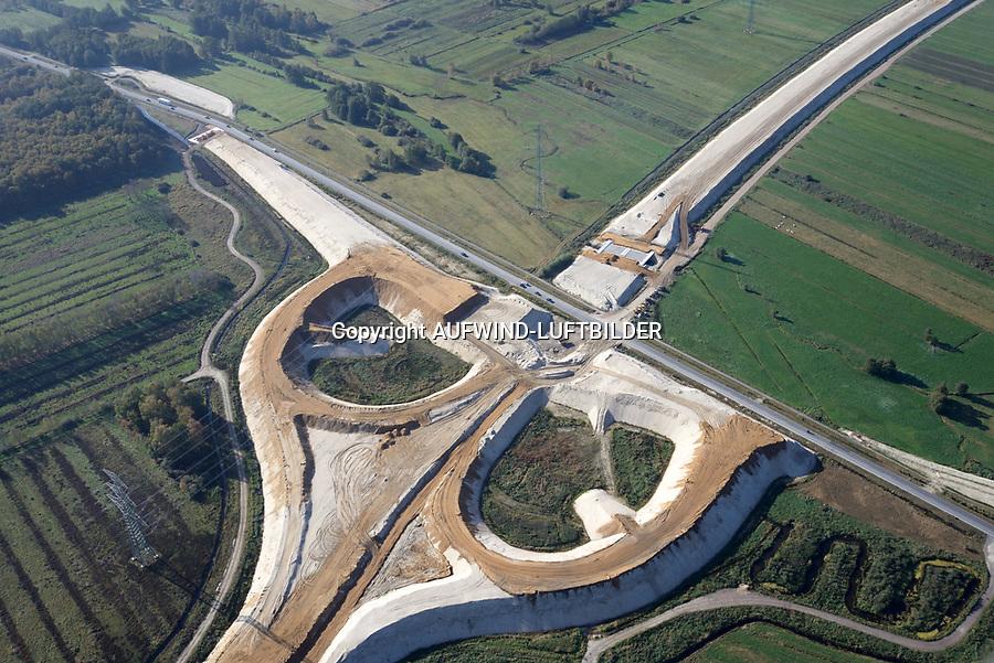 Autobahnbaustelle A26 bei Neu Wulmstorf: EUROPA, DEUTSCHLAND, NIEDERSACHSEN, NEU WULMSTORF (EUROPE, GERMANY), 19.10.2018: Autobahnbaustelle A26 bei Neu Wulmstorf,  Blickrichtung West