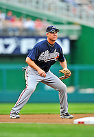 25 September 2011: Atlanta Braves third baseman Chipper Jones in action against the Washington Nationals at Nationals Park in Washington, DC. The Nationals shut out the Braves 3-0 to take the rubber match third game of their 3-game series - the Nationals' final home game for the 2011 season. Mandatory Credit: Ed Wolfstein Photo