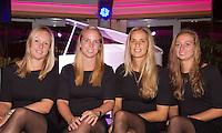 Moskou, Russia, Februari 4, 2016,  Fed Cup Russia-Netherlands,  Official Dinner, Dutch team l.t.r.: Kiki Bertens, Richel Hogenkamp, Arantxa Rus and Cindy Burger<br /> Photo: Tennisimages/Henk Koster