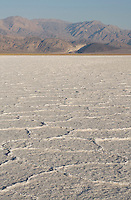 Mosaic patterns in salt pan at sunrise, Death Valley National Park, California