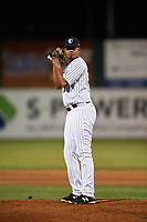 Lancaster JetHawks relief pitcher Salvador Justo (35) prepares to deliver a pitch during a California League game against the Visalia Rawhide at The Hangar on May 17, 2018 in Lancaster, California. Lancaster defeated Visalia 11-9. (Zachary Lucy/Four Seam Images)