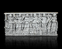 Roman relief sculpture on a sarcophagus side showing a married couple with pagan deities, circa 270 - 280 AD from the via Latina, Rome, Italy. National Roman Musuem, Rome.