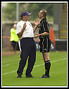 17/8/02               Copyright Pic : James Stewart                     .File Name : stewart-airdrie v stranraer 11.STRANRAER BOSS BILLY MCLAREN PLEADS WITH THE REFEREE OVER A DODGY DECISION......James Stewart Photo Agency, 19 Carronlea Drive, Falkirk. FK2 8DN      Vat Reg No. 607 6932 25.Office : +44 (0)1324 570906     .Mobile : + 44 (0)7721 416997.Fax     :  +44 (0)1324 570906.E-mail : jim@jspa.co.uk.If you require further information then contact Jim Stewart on any of the numbers above.........