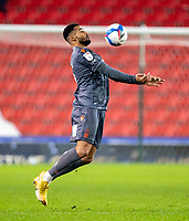 29th December 2020; Bet365 Stadium, Stoke, Staffordshire, England; English Football League Championship Football, Stoke City versus Nottingham Forest; Cyrus Christie of Nottingham Forest controls a loose ball