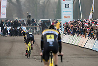 Daan Soete (BEL/Telenet Fidea Lions) on his way to the podium (with a 3th place) while Toon Aerts (BEL/Telenet Fidea Lions) has to let his teammate ride.<br /> <br /> Men's Elite Race<br /> Belgian National Cyclocross Championships 2018 / Koksijde