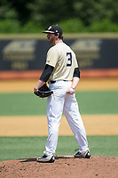 Wake Forest Demon Deacons starting pitcher Connor Johnstone (3) looks to his catcher for the sign against the Pitt Panthers at David F. Couch Ballpark on May 20, 2017 in Winston-Salem, North Carolina. The Demon Deacons defeated the Panthers 14-4.  (Brian Westerholt/Four Seam Images)
