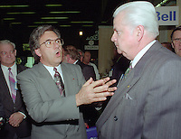 Montreal (qc) CANADA - file Photo - 1992 - <br /> Union des Municipalites du Quebec convention in April - Yvon Picotte (L),Ralph Mercier, UMQ President and Mayor of Charlesbourg (R)